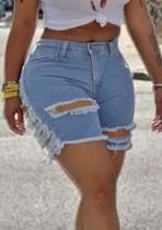 Pantalones cortos de mezclilla rasgados de corte sexy azul claro de verano
