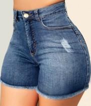 Summer Blue Fit Denim Shorts mit Fransen und hoher Taille