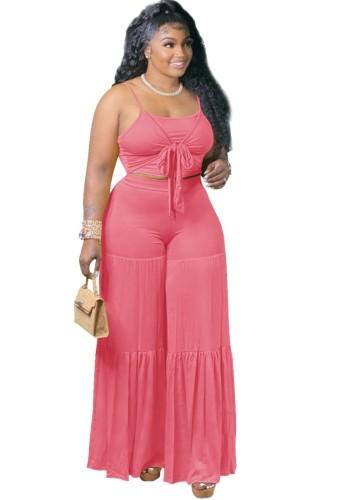 Summer Pink Strap Crop Top y Pantalones sueltos de cintura alta Conjunto de 2 piezas
