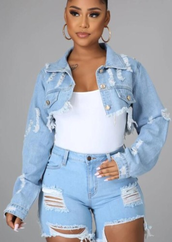 Summer Chains Short Denim Jacket with Full Sleeves