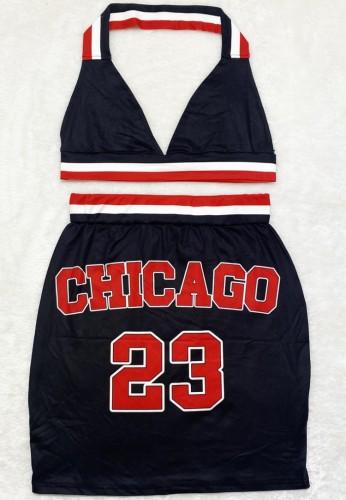 Conjunto de 2 piezas de sujetador halter y minifalda con estampado deportivo de verano