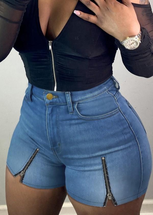 Shorts jeans de cintura alta sexy com zíper justo
