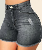 Summer Black Fit Denim Shorts mit Fransen und hoher Taille