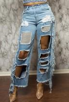 Summer Street Style Cut Out Fransen Blue Jeans