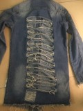 Spring Dark Blue Ripped Fringe Long Denim Jacket
