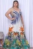 Summer Plus Size Floral Strap Long Maxi Dress