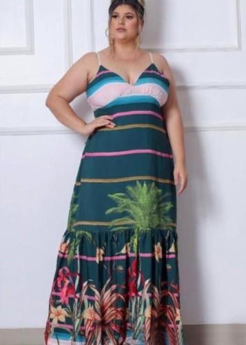 Vestido largo largo con tirantes florales de verano de talla grande
