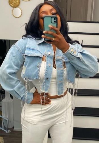 Summer Light Blue Chains Slit Short Denim Jacket