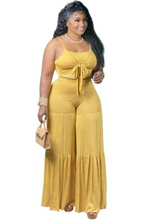 Conjunto de calças soltas de cintura alta e alça amarela de verão 2 peças