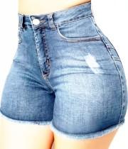 Summer Light Blue Fit Jeans-Shorts mit Fransen und hoher Taille
