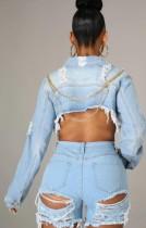 Veste en jean courte Summer Chains à manches longues