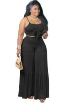 Summer Black Strap Crop Top y pantalones sueltos de cintura alta Conjunto de 2 piezas