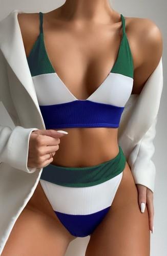 Traje de baño de dos piezas con correa de cintura alta y bloques de color