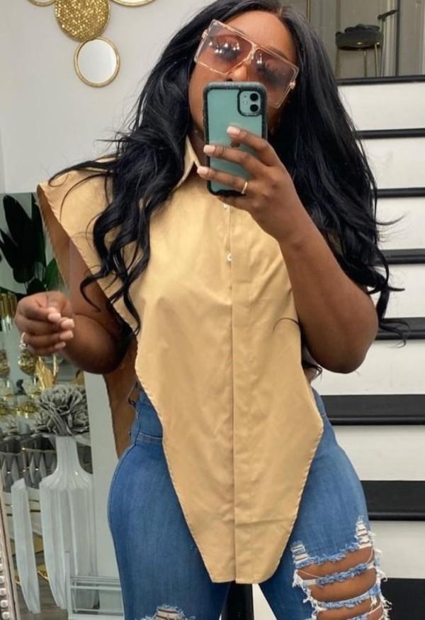 Blusa de verão caqui com fenda lateral