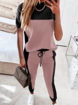 Camicia e pantaloni casual estivi a blocchi di colore 2 pezzi