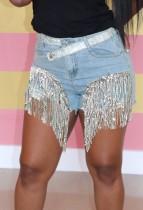 Summer Blue und Silver Fringe Denim Shorts