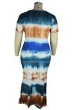 Summer Plus Size Tie Dye Langes Maxikleid mit O-Ausschnitt