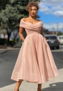Vestido de formatura formal rosa sem alças de cintura alta