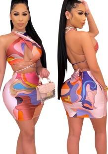 Ensemble haut court cache-cœur multicolore et mini-jupe d'été
