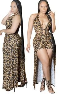 Vestido macacão com estampa de leopardo de verão e decote em V