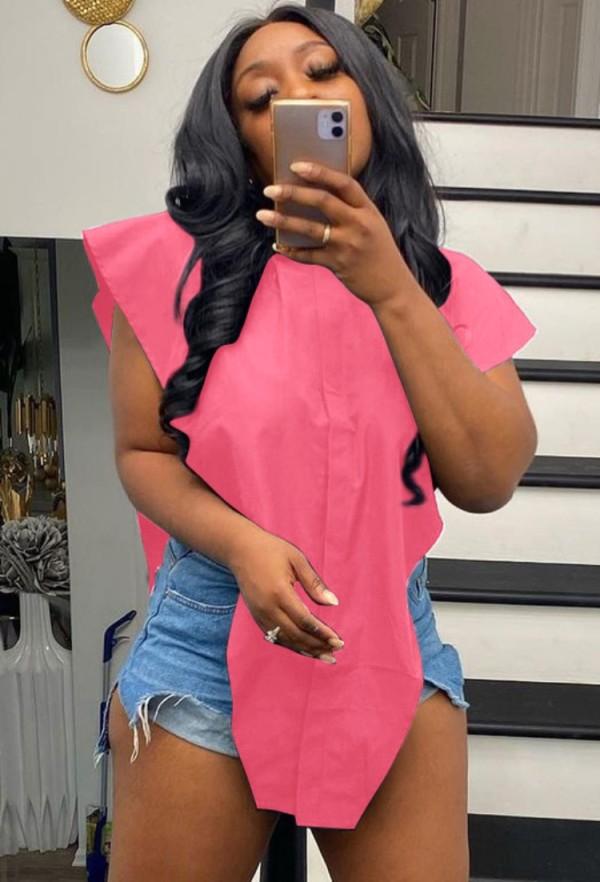 Blusa irregular con aberturas laterales en rosa de verano