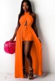 Summer Orange Wrap Long Halter Top and Shorts Set
