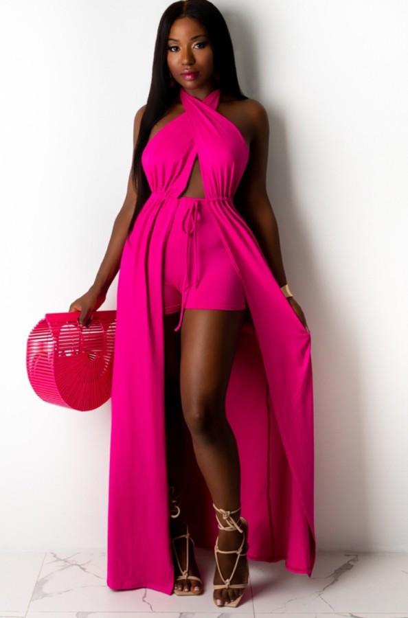 Summer Pink Wrap Long Halter Top and Shorts Set