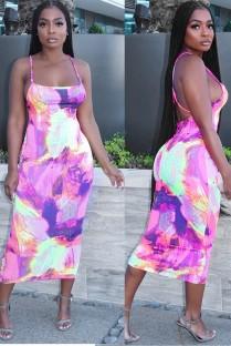 Vestido Midi com alça de tintura sexy para verão cross back