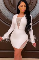 Vestido ajustado de manga larga sexy con cuentas blancas de verano