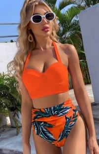 Traje de baño de cintura alta naranja con estampado de dos piezas