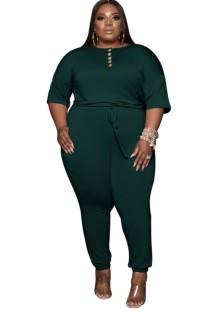 夏のプラスサイズの緑の巾着カジュアルジャンプスーツ