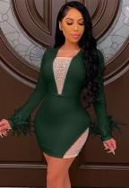 Vestido ajustado de manga larga sexy con cuentas de verano verde