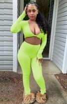 Summer Green Sexy Long Sleeve Crop Top and Pants Set