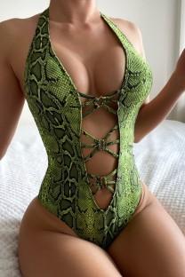 Costume da bagno intero con lacci con stampa in pelle di serpente verde