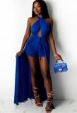 Summer Blue Wrap Long Halter Top and Shorts Set