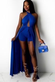 Conjunto de shorts e tops compridos em azul verão Wrap