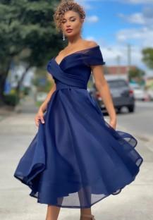 Vestido de formatura formal de verão azul sem alças de cintura alta