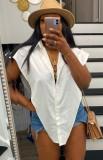 Blusa irregular con abertura lateral blanca de verano