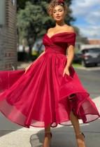 Abito da ballo a vita alta senza spalline rosso formale estivo