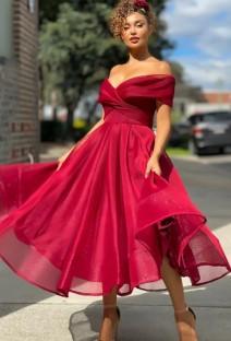 Vestido de formatura formal vermelho sem alças de cintura alta