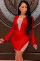 Vestido ajustado de manga larga sexy con cuentas rojas de verano