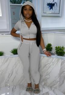 Calça e blusa cinza casual de verão com capuz de 2 peças