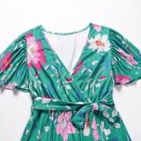 Vestido largo cruzado de manga corta verde floral de verano