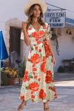 Vestido largo envolvente de manga corta roja floral de verano