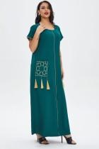 Vestido largo musulmán Abaya de manga corta verde de verano