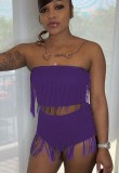 Summer Sexy Purple Fringe Strapless Crop Top and High Cut Shorts Set