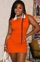 Vestido camisero sin mangas con cordones laterales naranja informal de verano