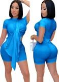 Summer Sexy Blue Irregular Top y Biker Shorts Conjunto de 2 piezas