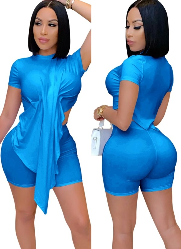 Summer Sexy Blue Irregular Top und Biker Shorts 2-teiliges Set