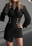 Lente zwarte formele mini-jurk met lange mouwen